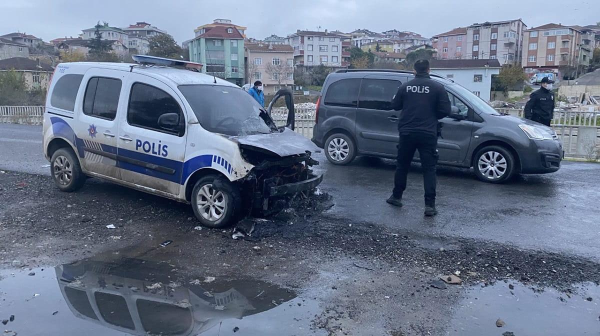 SANCAKTEPE'DE POLİS ARACI ANİDEN ALEV ALDI
