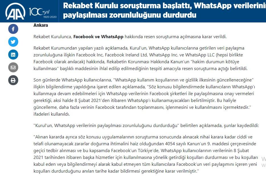 Türkiye Rekabet Kurumunun açıklaması